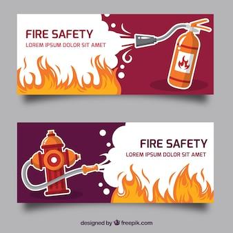 Banner de fuego con diseño plano
