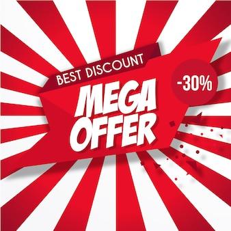 Banner de mega oferta roja