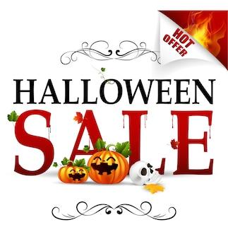 Banner de oferta caliente de venta de halloween