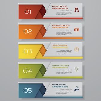 Banner de opción de 5 pasos para la presentación.