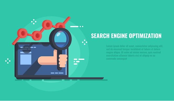 Banner de optimización de motor de búsqueda, servicio de búsqueda de datos, sitio web de promoción