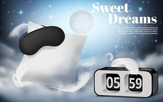 Banner de promoción con realista blanco almohada, con los ojos vendados y despertador sobre fondo azul noche