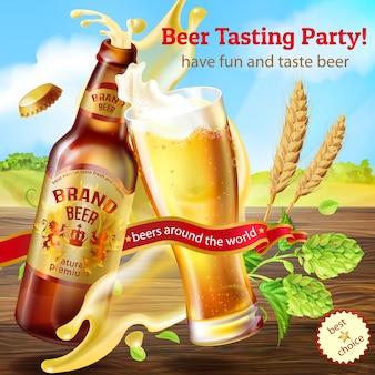 Banner de promoción para la fiesta de degustación de cerveza, con una botella marrón de cerveza artesanal