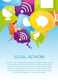 Banner de red social con iconos
