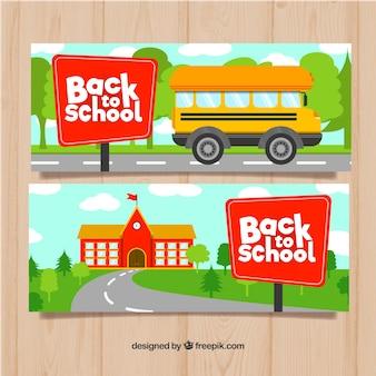 Banner de vuelta al colegio con diseño plano