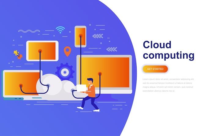 Banner de web de concepto plano moderno de computación en la nube
