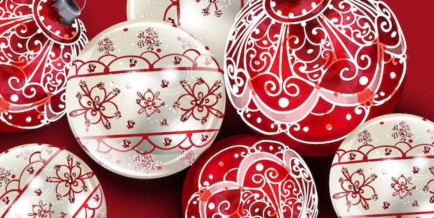 Banner de decoración de bolas navideñas