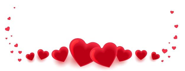 Banner de decoración de corazones para el día de san valentín