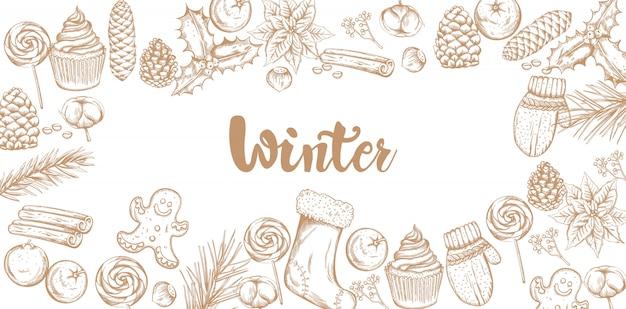 Banner de decoraciones de invierno con adornos