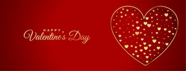 Banner decorativo de corazón de oro del día de san valentín