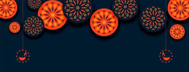 Banner decorativo de estilo indio naranja feliz diwali