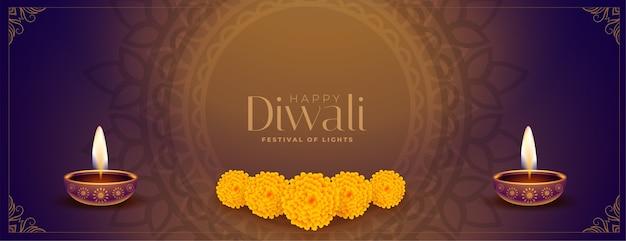 Banner decorativo de feliz diwali de estilo étnico