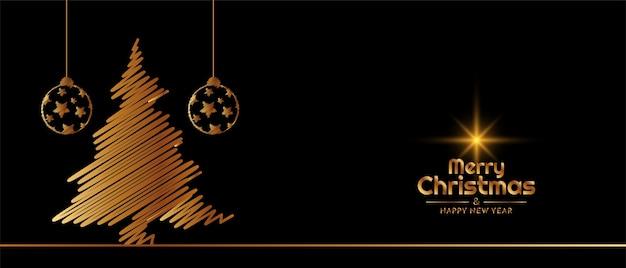 Banner decorativo feliz navidad festival con árbol dorado