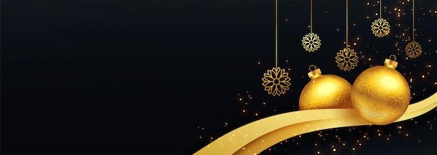 Banner decorativo de feliz navidad negro y oro