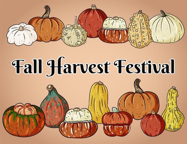 Banner decorativo del festival de la cosecha de otoño con lindas calabazas coloridas.
