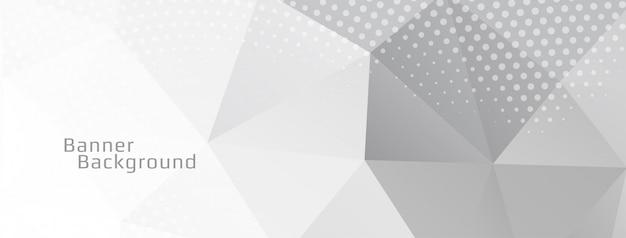 Banner decorativo de polígono geométrico de color gris