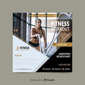 Banner de deporte de entrenamiento de fitness