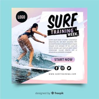 Banner de deporte de entrenamiento de surf