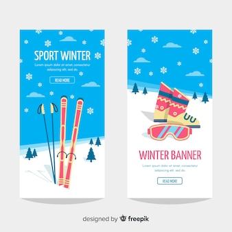 Banner de deporte de invierno
