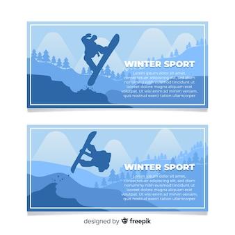 Banner de deportes de invierno