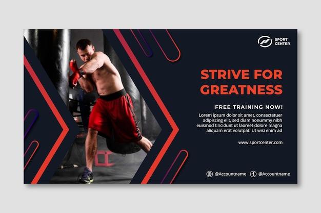 Banner deportivo degradado con boxeador masculino