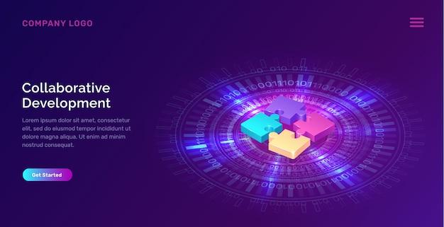 Banner de desarrollo colaborativo, concepto isométrico