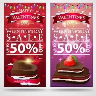 Banner de descuento dos día de san valentín con caramelos de chocolate.