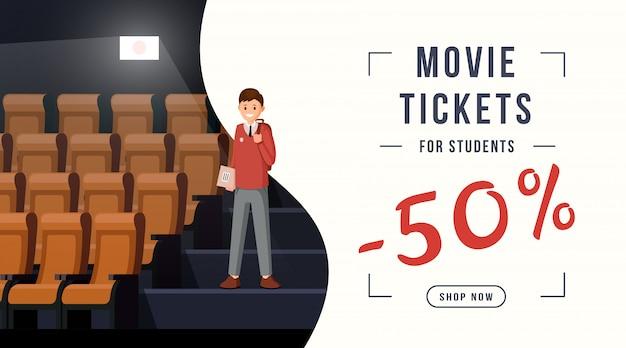 Banner de descuento de entradas de cine