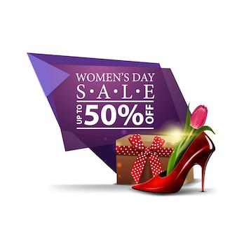 Banner de descuento geométrico moderno para el día de la mujer.