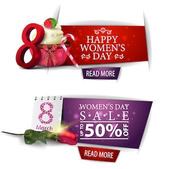 Banner de descuento moderno del día de la mujer con cupcake y rosa