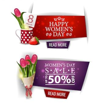 Banner de descuento moderno del día de la mujer con ramo de tulipanes