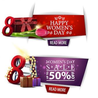 Banner de descuento moderno del día de la mujer con regalos,