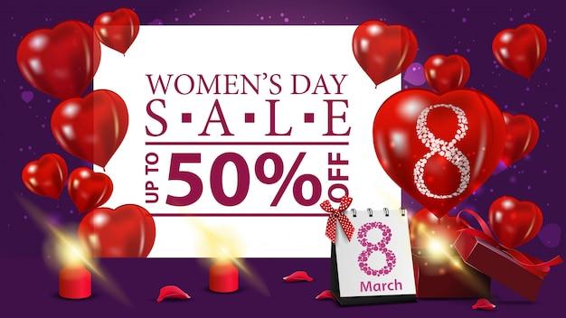 Banner de descuento morado horizontal para el día de la mujer.