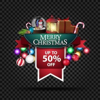 Banner de descuento navideño con hasta 50% de descuento.