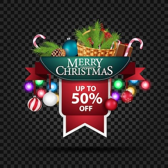 Banner de descuento navideño con cesta con hasta 50% de descuento.