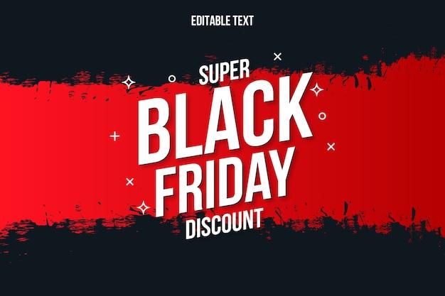 Banner de descuento super black friday con trazo de pincel rojo