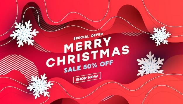 Banner de descuento de venta de feliz navidad con copos de nieve blancas