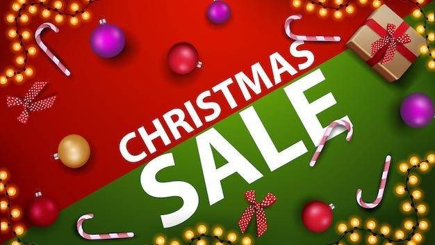 Banner de descuento de venta de navidad con bastón de caramelo