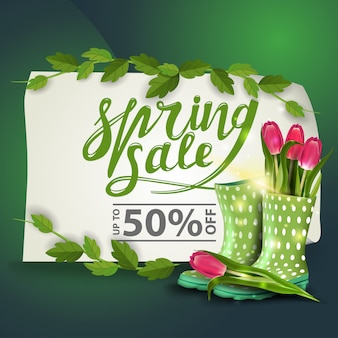 Banner de descuento de venta de primavera