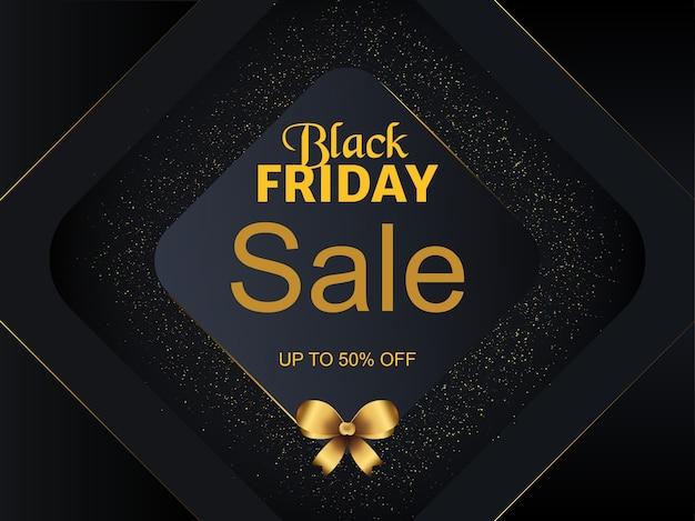 Banner de descuento de venta de viernes negro con brillo dorado