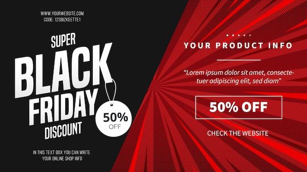 Banner de descuento de viernes negro moderno con líneas rojas