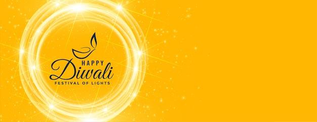 Banner de deseos brillante amarillo feliz diwali