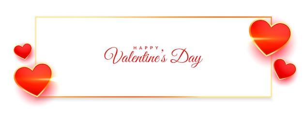 Banner de deseos de san valentín con marco de corazones