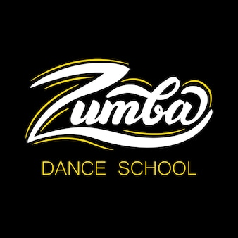 Banner design con letras zumba dance school. ilustración vectorial