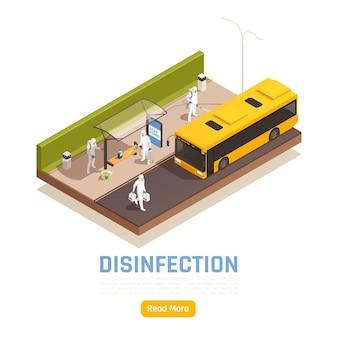 Banner de desinfección isométrica
