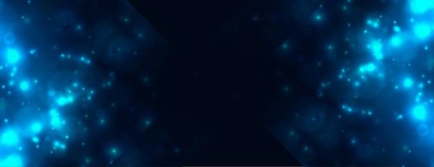 Banner de destellos de luz azul abstracto bokeh