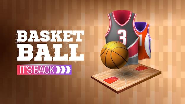 Banner devuelto baloncesto con textura de madera