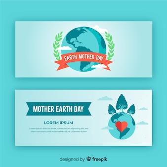 Banner del día d la tierra en diseño plano
