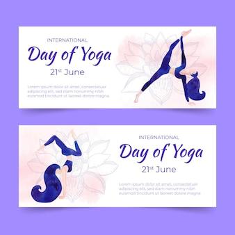 Banner del día internacional de la acuarela de yoga