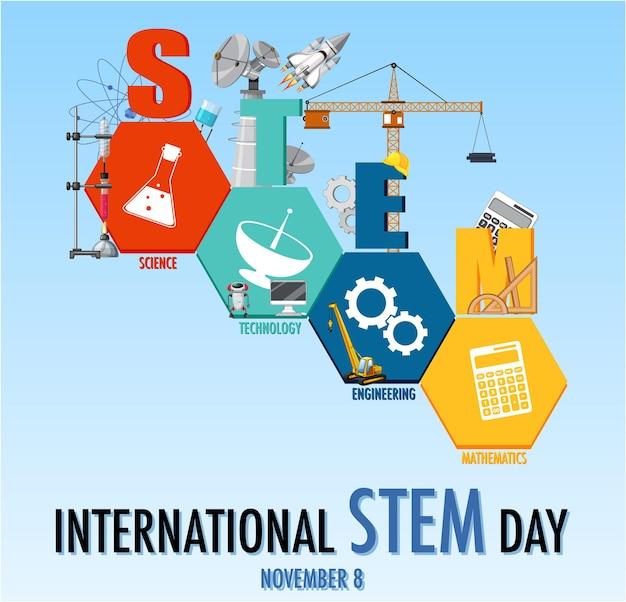 Banner del día internacional stem el 8 de noviembre con el logo stem